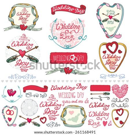 Wedding day,love,romantic decor elements set.Ribbon,swirls,arrows,headline for logo,emblems,card. Doodle hand drawing Vintage vector,retro.Cute invitation maker - stock vector