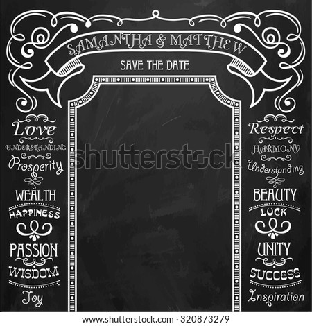 Wedding decor, love. Set of vintage elements. Hand-drawn on blackboard with chalk.The background for the wedding photo shoot. - stock vector