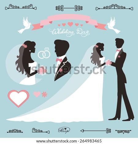 Wedding decor set.Bride,groom Flat silhouette,portrait.Bridal dress,Swirling borders, ribbon,label.Invitation Design template kit.Vintage Vector,simple, fashion - stock vector