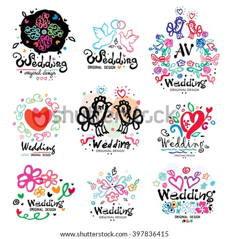 Wedding decoration logo handmade. Wedding Design illustration items and ornaments. Silhouettes of birds, wedding symbols, flowers and hearts. Valentine's Day elements. - stock vector