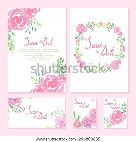 Wedding design collection. Invitation cards with watercolor design. Floral frame element