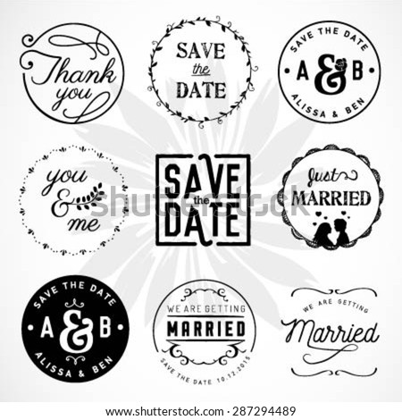 Wedding Design Elements, Badges and Labels in Vintage Style - stock vector