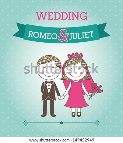 wedding design over blue background vector illustration  - stock vector