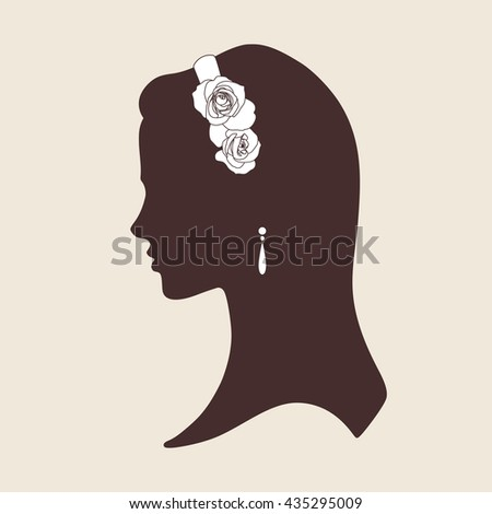 Wedding design silhouette of bride wearing tiara made of roses vector illustration - stock vector