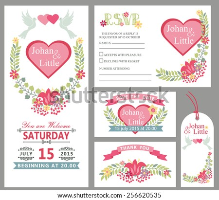 Wedding design template set with flowers,frame,ribbon,border in Retro style .For Wedding  invitation,thank you,save date,tag,RSVP card.Vintage vector,floral decor. - stock vector