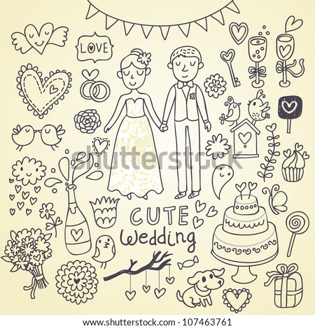 Wedding doodle sketchy vector illustration - stock vector
