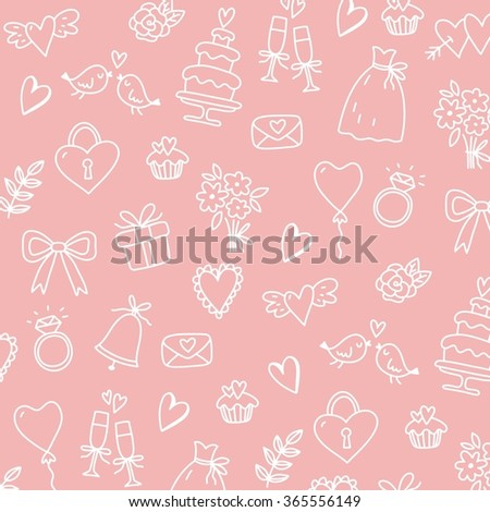 Wedding doodle vector icon background