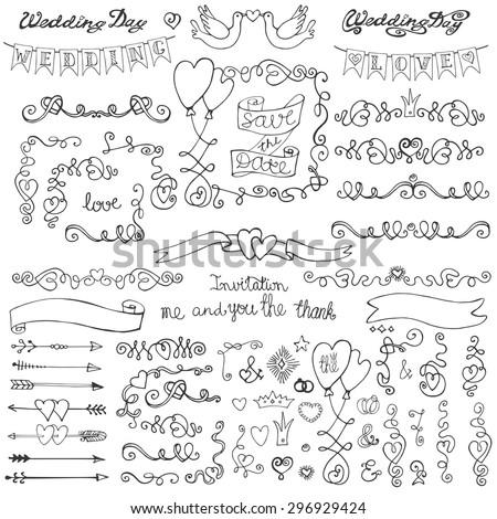 Wedding Doodles Decor Swirling Heart