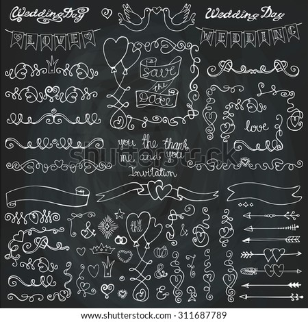 Wedding Doodles decor.Swirling heart Borders,arrow,frames,brushes,ribbons,love  element set.Holiday design template,invitation.Hand drawing Vintage Vector.For Valentine day,Easter,birthday.Chalkboard - stock vector