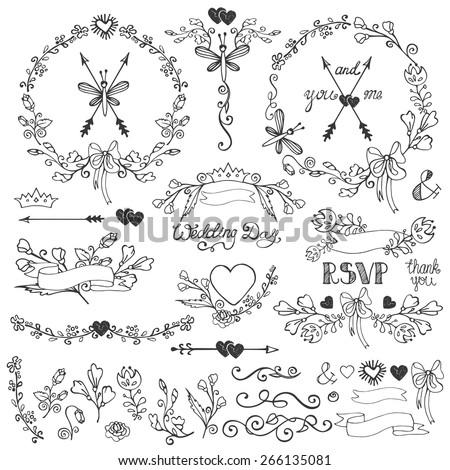 Wedding doodles floral decor elements setswirling stock vector wedding doodles floral decor elements setswirling borderflowersbrancheswreath junglespirit Choice Image