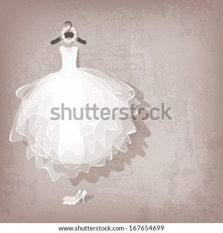 wedding dress on grungy background  - vector illustration - stock vector