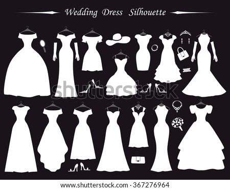 Wedding DressesFashion Bride White Dress Silhouette In Flat Modern Style Vintage Vector