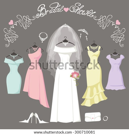 Wedding dresses hanging.Fashion bride and bridesmaid Dress made in flat style.White dress,accessories set,flowers bouquet,veil,swirls.Holiday vector background.Bridal shower composition - stock vector