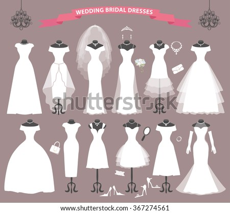 Wedding Dresses Different Styles Fashion Bride White Stock Vector ...