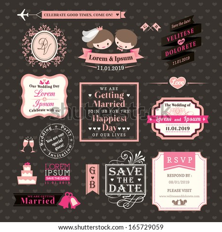 Wedding Elements labels and frames Vintage Style - stock vector