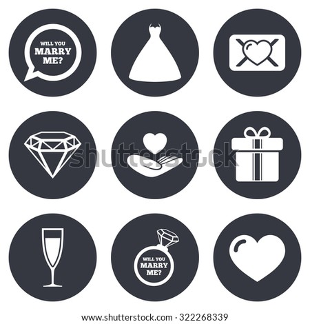 Wedding, engagement icons. Love oath letter, gift box and brilliant signs. Dress, heart and champagne glass symbols. Gray flat circle buttons. Vector - stock vector