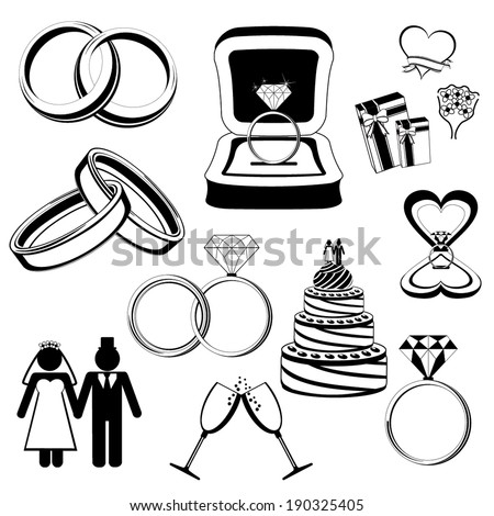 Wedding / engagement vector icons - stock vector