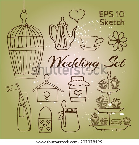 Wedding engraving sketch elements set for invitations