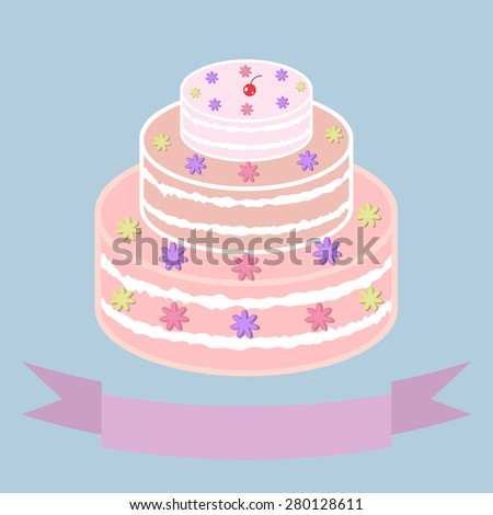 Wedding / festive cake executed in pastel tones. - stock vector