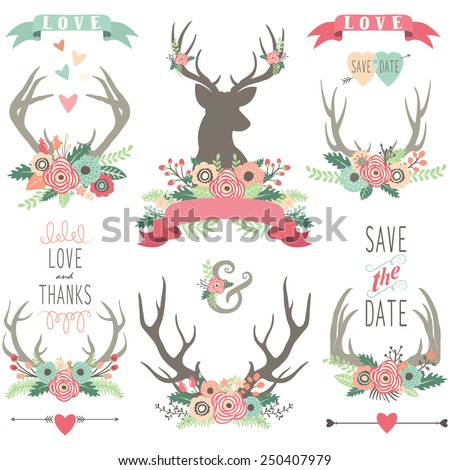 Wedding Floral Antlers Collections - stock vector