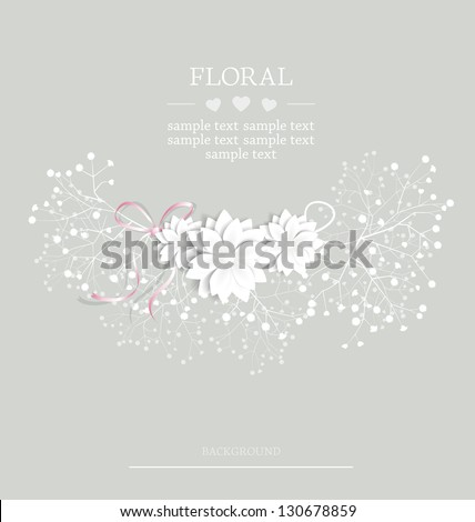 wedding floral card with place for text - stock vector