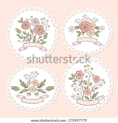 Wedding floral graphic set - stock vector