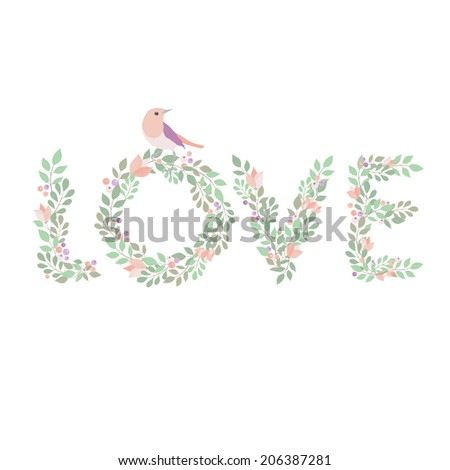 Wedding floral love - stock vector