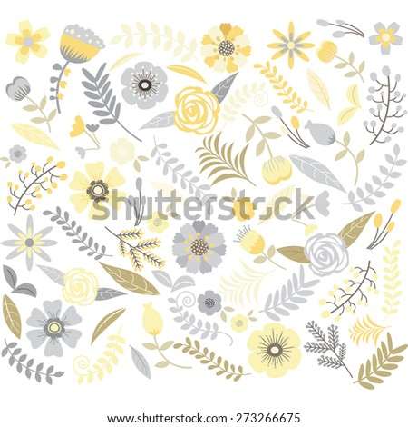 Wedding Floral  Pattern set - stock vector