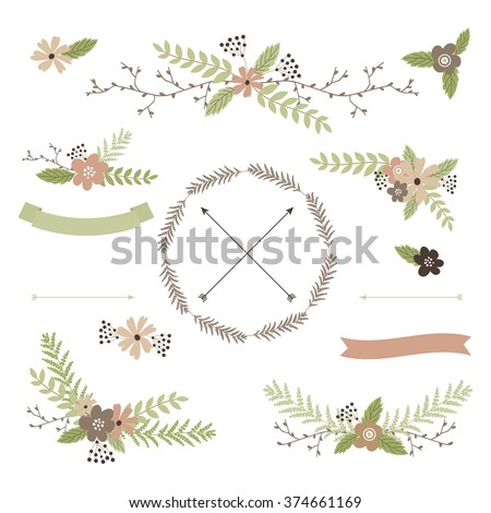 Wedding floral set with wreath, arrows, bouquets and ribbons in pastel tones - stock vector