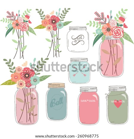 Wedding Floral with Mason Jar - stock vector
