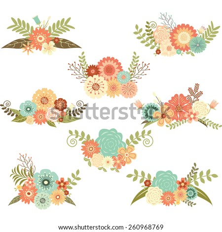 Wedding Flower Set - stock vector