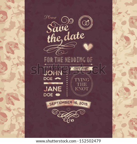 Wedding flowers invitation - stock vector