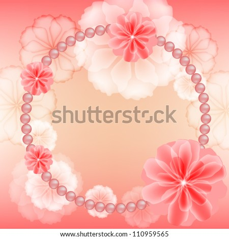Wedding frame with flowers and beads - stock vector