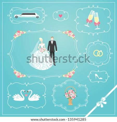 Wedding frames set - stock vector