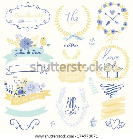 Wedding gentle collection with labels, ribbons, hearts, flowers, arrows, wreaths, laurel and birds. Graphic set in retro style. Save the Date invitation in vector. - stock vector