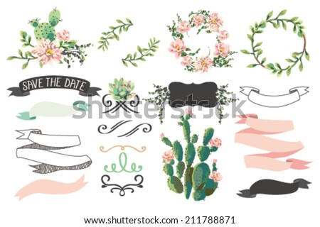 Wedding graphic collection with succulents ribbons wreaths  flower - stock vector