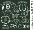 Wedding graphic set: arrows, hearts, laurel, wreaths, ribbons,wings, cages, flowers, hand drawn letters and labels. - stock