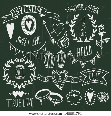 Wedding graphic set: arrows, hearts, laurel, wreaths, ribbons,wings, cages, flowers, hand drawn letters and labels. - stock vector