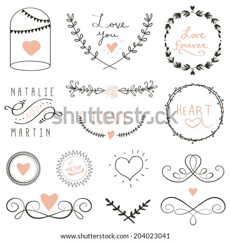 Wedding graphic set, borders, arrows, hearts, laurel, wreaths, ribbons and labels - stock vector