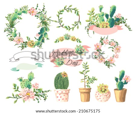 wedding graphic set,Cute succulents,wreath,ribbon - stock vector