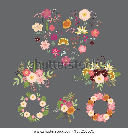 Wedding graphic set, flowers, ribbon, floral vector element - stock vector