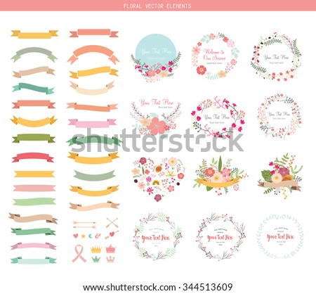 Wedding graphic set, flowers, ribbon, floral vector element. - stock vector