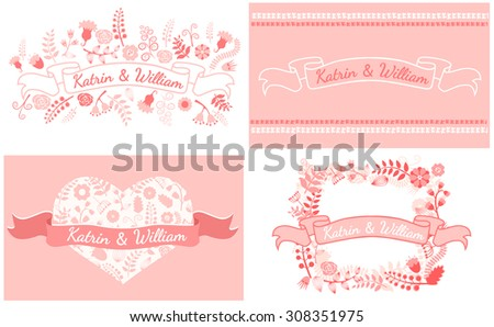 Wedding graphic set, laurel, wreaths, ribbons and flowers. Vector flat illustration. - stock vector