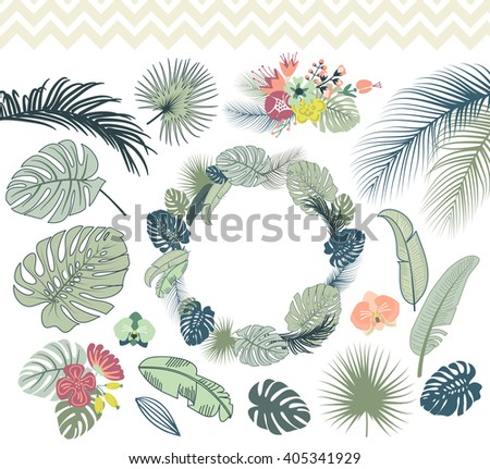 Wedding graphic set with palm leaves, monstera foliage, wreath and tropical excotic flowers - stock vector