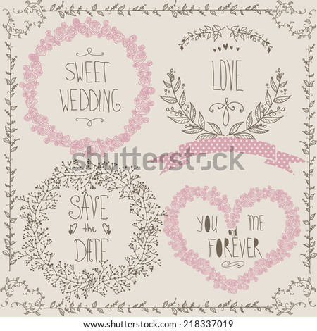 Wedding graphic set, wreath, flowers, hearts, laurel, ribbons and labels.  - stock vector