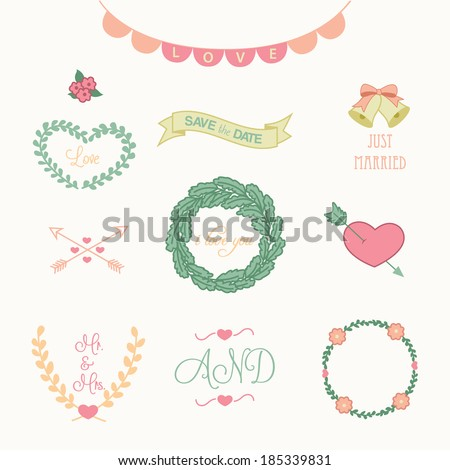 Wedding Graphics Set - stock vector
