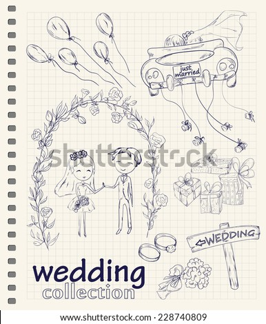 Wedding hand drawn doodle collection for wedding ceremony organizer. Just married couple in retro car dragging cans. Bride and groom under flower arch. Vector illustration. - stock vector