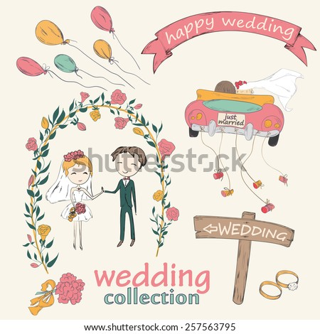 Wedding hand drawn doodle collection for wedding ceremony organizer. Just married couple in retro car dragging cans. Bride and groom under an flower arch. Vector illustration. - stock vector