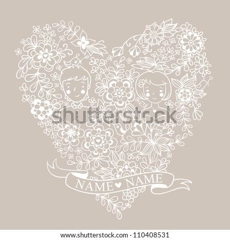 Wedding heart with flowers and birds. The bride and groom. .Romantic floral wedding invitation in vector. Cute marriage. - stock vector