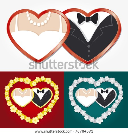 Wedding hearts - stock vector